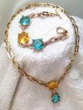 Set bijuterii -Colier si bratara-placat cu aur 18k si SWAROVSKI-LIMITAT