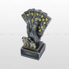 Trofeu poker cu efect antic, argint