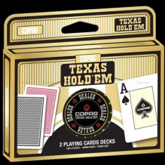 Copag. Carti de joc Texas Hold'em. Pachet dublu + Jeton dealer 100% plastic - Masa de joc poker