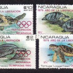 Nicaragua 1980 fauna testoase sport MI 2099-2102 MNH w45 - Timbre straine, Nestampilat