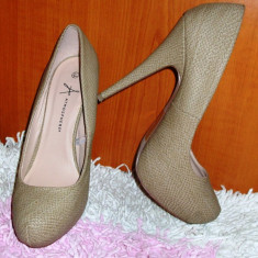 NOU Pantofi cu toc inalt bej petrecere / club piele sarpe platforma 40 41 - Pantof dama Next, Culoare: Din imagine, Piele sintetica