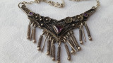 Rezervat - UNICAT Colier argint SPECTACULOS cu ametiste mov model TRIBAL vechi