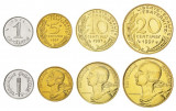 FRANTA █ SET DE MONEDE █ 1+5+10+20 Centimes █ 1962-1998 █ UNC, Europa
