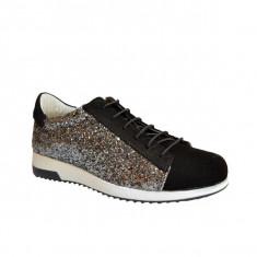 Pantofi dama, MPL 725, negru-gliter din piele naturala