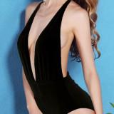 NOU Costum de baie dama negru intreg o piesa decupat sexy marimea L / XL