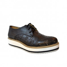 Pantofi casual dama, MPL 739, negru din piele naturala