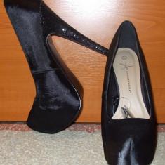NOU Pantofi club satinati toc inalt sclipici platforma ATMOSPHERE 40 41 - Pantof dama, Culoare: Din imagine, Piele sintetica, Cu toc