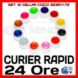 KIT SET 12 MODELE GEL GELURI COCO SIDEFATE PT LAMPA UV COLORATE 5ML (8G), Gel colorat