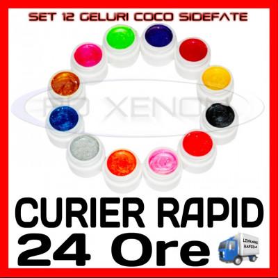 KIT SET 12 MODELE GEL GELURI COCO SIDEFATE PT LAMPA UV COLORATE 5ML (8G) foto