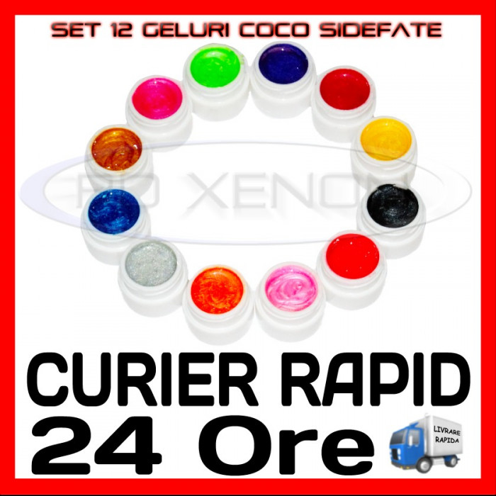 KIT SET 12 MODELE GEL GELURI COCO SIDEFATE PT LAMPA UV COLORATE 5ML (8G)