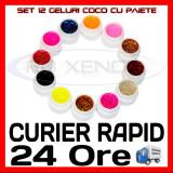 KIT SET 12 MODELE GEL GELURI COCO CU PAIETE PT LAMPA UV COLORATE 5ML (8G), Gel colorat