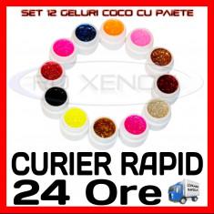 KIT SET 12 MODELE GEL GELURI COCO CU PAIETE PT LAMPA UV COLORATE 5ML (8G)