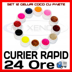 KIT SET 12 MODELE GEL GELURI COCO CU PAIETE PT LAMPA UV COLORATE 5ML (8G) - Gel unghii Sina