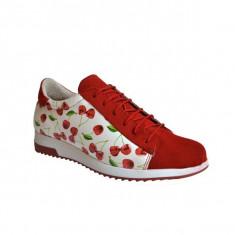 Pantofi dama, MPL 723, rosu cherry din piele naturala
