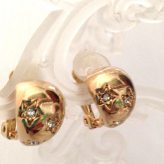 LICHIDARE-Cercei forma BULB-clips -cu STELUTE-aur galben filat 18k si swarovski