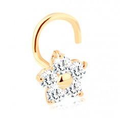 Piercing curbat pentru nas din aur galben 14K - floare cu zirconiu transparent