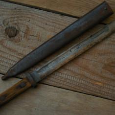 BAIONETĂ ANTEBELICĂ AUSTRO-UNGARĂ MANNLICHER FGGY + TEACA ORIGINALĂ, VECHE 1895!