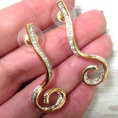 Cercei lungi eleganti GAMA GUESS placati cu aur 18k si aplicati cu Swarovski