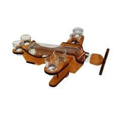 Minibar lemn avion cu sticla si 6 paharute tarie - Suport sticla vin