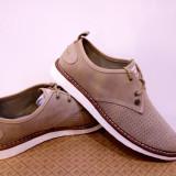 Pantofi originali Penguin Yoyo USA, piele naturala.Bej si Navy