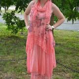 Rochie de vara culoare corai, imprimeu floral si insertii de dantela (Culoare: CORAI, Marime: 48) - Rochie de zi