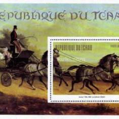 Tchad 1973 - picturi cu cai, colita neuzata