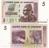 ZIMBABWE 5 dollars 2007 UNC!!!