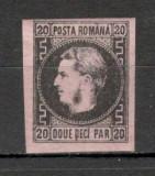 Romania.1867 Carol I cu favoriti hartie subtire 20 Parale  XR.5, Nestampilat