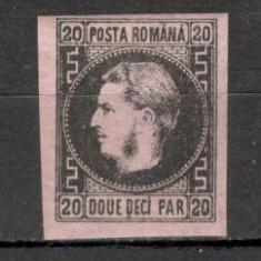 Romania.1867 Carol I cu favoriti hartie subtire 20 Parale  XR.5