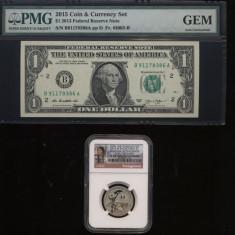 SUA - 1 $ 2015 - Set Moneda si Bancnota Comemorativa 9/11 - Certificat si Gradat - bancnota america