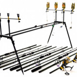 Kit Compet Pescuit Crap3.6 m 4 Lansete 4 mulin Rod Pod Full Cu Senz si Swingeri