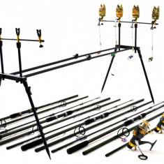 Kit Compet Pescuit Crap3.9 m 4 Lansete 4 mulin Rod Pod Full Cu Senz si Swingeri - Set pescuit