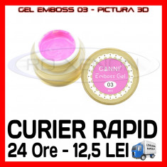 GEL EMBOSS GD COCO 03 - PICTURA 3D PT LAMPA UV, MANICHIURA GEL, GELURI COLOR, Gel colorat