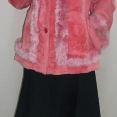 Jacheta eleganta din blana naturala, neagra, roz (Culoare: ROZ, Marime: L/XL) - Palton dama
