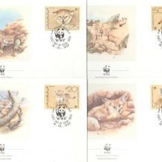 Yemen 1989 - pisici salbatice WWF, serie FDC