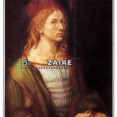 Zaire 1978 - pictura Durer, colita neuzata