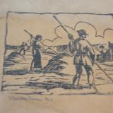 V. Constantinescu 1937 - linogravura - artist interbelic Clujean - Pictor roman, Scene gen, Cerneala, Realism