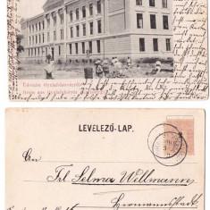 Alba Iulia 1900 - Gimnaziul romano-catolic din cetate, ilustrata - Carte Postala Transilvania 1904-1918