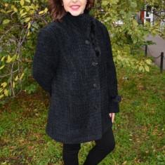 Jacheta eleganta masuri mari, neagra, din tesatura calduroasa (Culoare: NEGRU, Marime: 52) - Jacheta dama