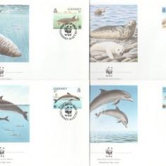 Guernsey 1990 - fauna marina WWF, serie FDC