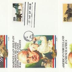 SUA 1993 - ww2, 3 buc carton FDC 1