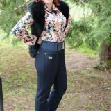 Pantalon lung masura mare, de culoare bleumarin, cu dunga in fata (Culoare: BLEUMARIN, Marime: 46)