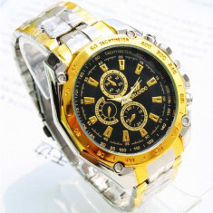 Ceas Quartz Casual Elegant ORLANDO Gold-Silver Chronomat Gold, Silver, Black - Ceas barbatesc, Inox, Analog