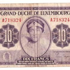 Luxembourg 1944 - 10 francs, circulata