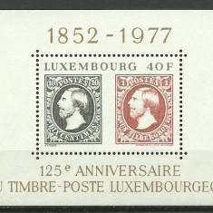 Luxemburg 1977 - 125th ziua marcii postale, colita neuzata