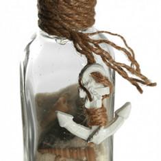 Sticla decorativa cu nisip si scoici - motive marine, 12 x 6 cm, Radar 830007