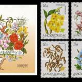 Ungaria 1993 - flori din Asia, serie+colita neuzata