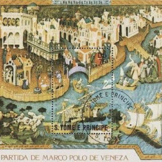 Sao Tome 1982 - Marco Polo, colita stampilata