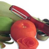 Dispozitiv pentru decojit fructe si legume cu lama mobila zimtata - Curatator legume, fructe