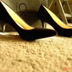 Pnatofi negri, piele intoarsa, Calvin Klein, noi - Sandale dama Calvin Klein, Culoare: Negru, Marime: 40
